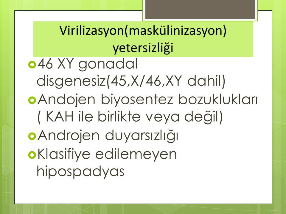 Virilizasyon(maskülinizasyon) yetersizliği  46 XY gonadal disgenesiz(45,X/46,XY dahil)  Andojen biyosentez bozuklukları ( KAH ile birlikte veya değil)  Androjen duyarsızlığı  Klasifiye edilemeyen hipospadyas