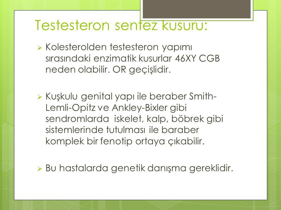 Testesteron sentez kusuru:  Kolesterolden testesteron yapımı sırasındaki enzimatik kusurlar 46XY CGB neden olabilir.