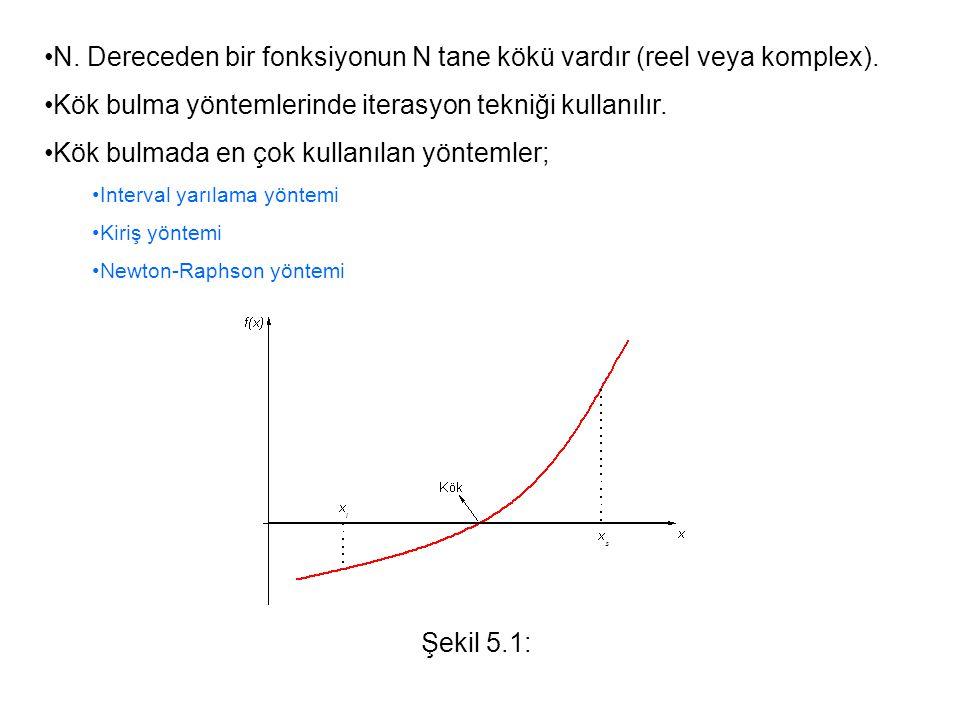 Interval Yarılama Yöntemi: Şekilde gösterildiği gibi, [a,b] aralığında sürekli bir fonksiyon için f(a)f(b)<0 oluyorsa, yani fonksiyon işaret değiştiriyorsa, bu [a,b] aralığında bir kökü vardır.