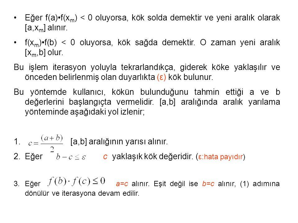 Eğer f(a)f(x m ) < 0 oluyorsa, kök solda demektir ve yeni aralık olarak [a,x m ] alınır. f(x m )f(b) < 0 oluyorsa, kök sağda demektir. O zaman yeni ar