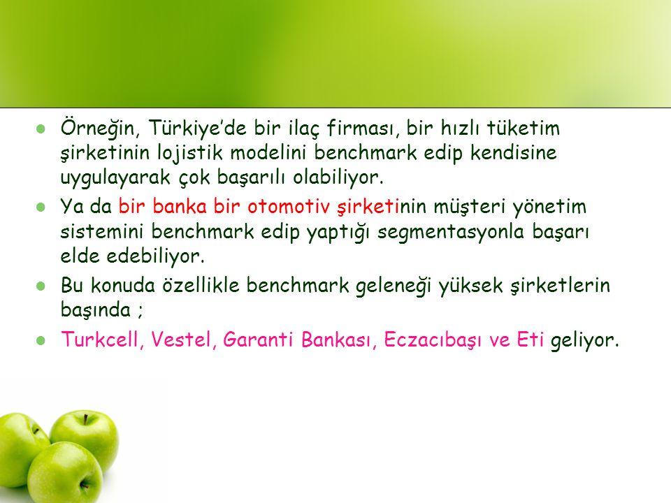 Örneğin, Türkiye'de bir ilaç firması, bir hızlı tüketim şirketinin lojistik modelini benchmark edip kendisine uygulayarak çok başarılı olabiliyor. Ya