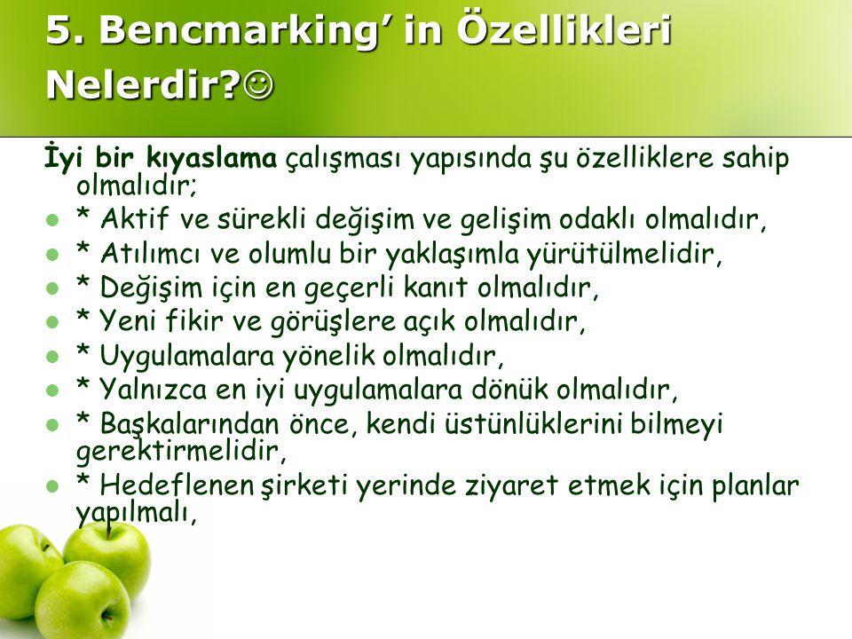 5. Bencmarking' in Özellikleri Nelerdir? 5. Bencmarking' in Özellikleri Nelerdir? İyi bir kıyaslama çalışması yapısında şu özelliklere sahip olmalıdır