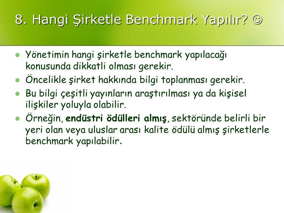 8. Hangi Şirketle Benchmark Yapılır? 8. Hangi Şirketle Benchmark Yapılır? Yönetimin hangi şirketle benchmark yapılacağı konusunda dikkatli olması gere