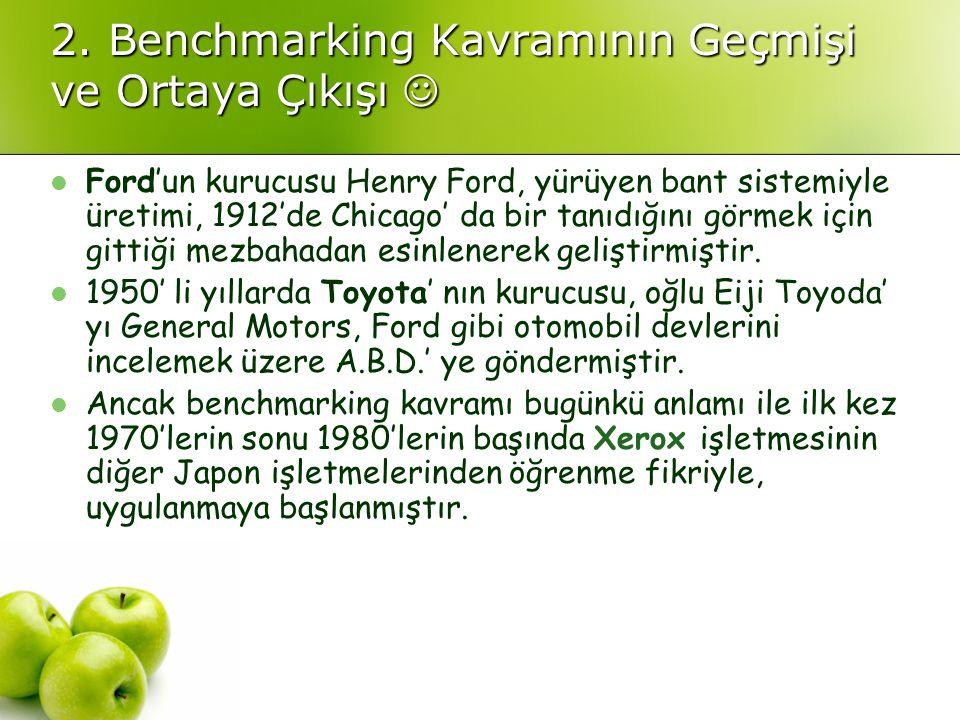 2. Benchmarking Kavramının Geçmişi ve Ortaya Çıkışı 2. Benchmarking Kavramının Geçmişi ve Ortaya Çıkışı Ford'un kurucusu Henry Ford, yürüyen bant sist