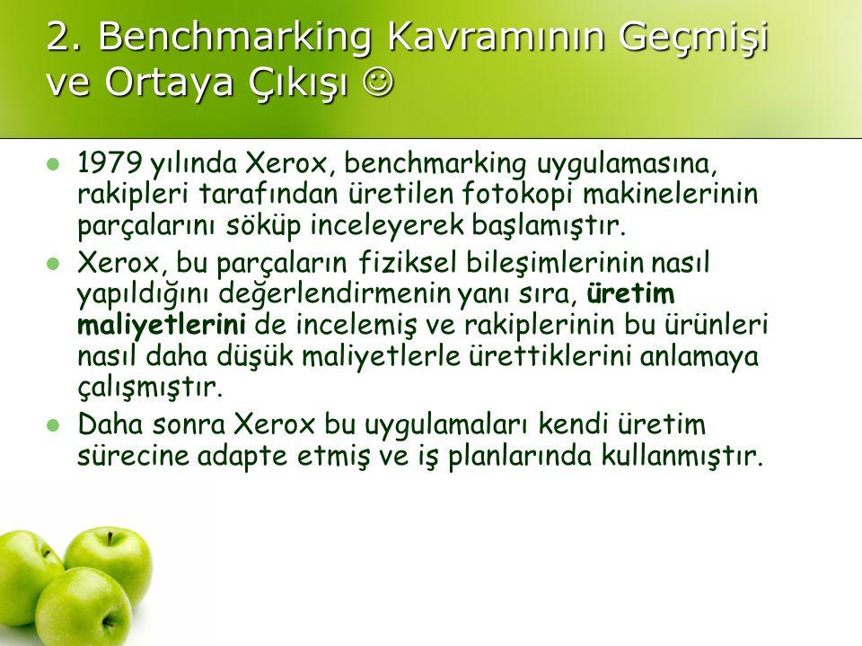 2. Benchmarking Kavramının Geçmişi ve Ortaya Çıkışı 2. Benchmarking Kavramının Geçmişi ve Ortaya Çıkışı 1979 yılında Xerox, benchmarking uygulamasına,
