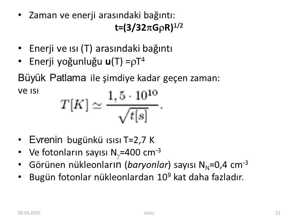 Zaman ve enerji arasındaki bağıntı: t=(3/32  G  R) 1/2 Enerji ve ısı (T) arasındaki bağıntı Enerji yoğunluğu u(T) =  T 4 Büyük Patlama ile şimdiye
