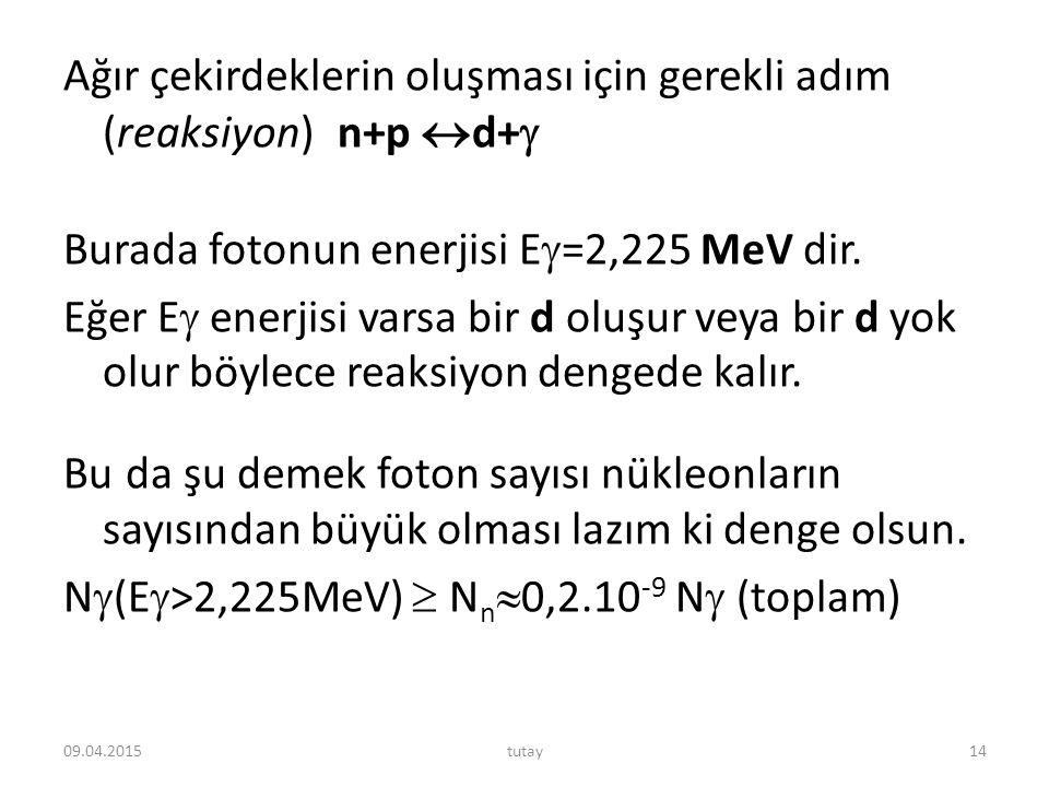 Ağır çekirdeklerin oluşması için gerekli adım (reaksiyon) n+p  d+  Burada fotonun enerjisi E  =2,225 MeV dir. Eğer E  enerjisi varsa bir d oluşur