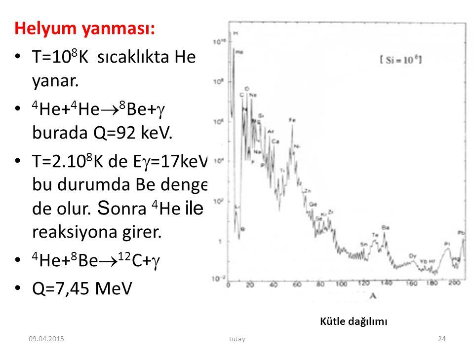 Helyum yanması: T=10 8 K sıcaklıkta He yanar. 4 He+ 4 He  8 Be+  burada Q=92 keV. T=2.10 8 K de E  =17keV bu durumda Be denge de olur. S onra 4 He