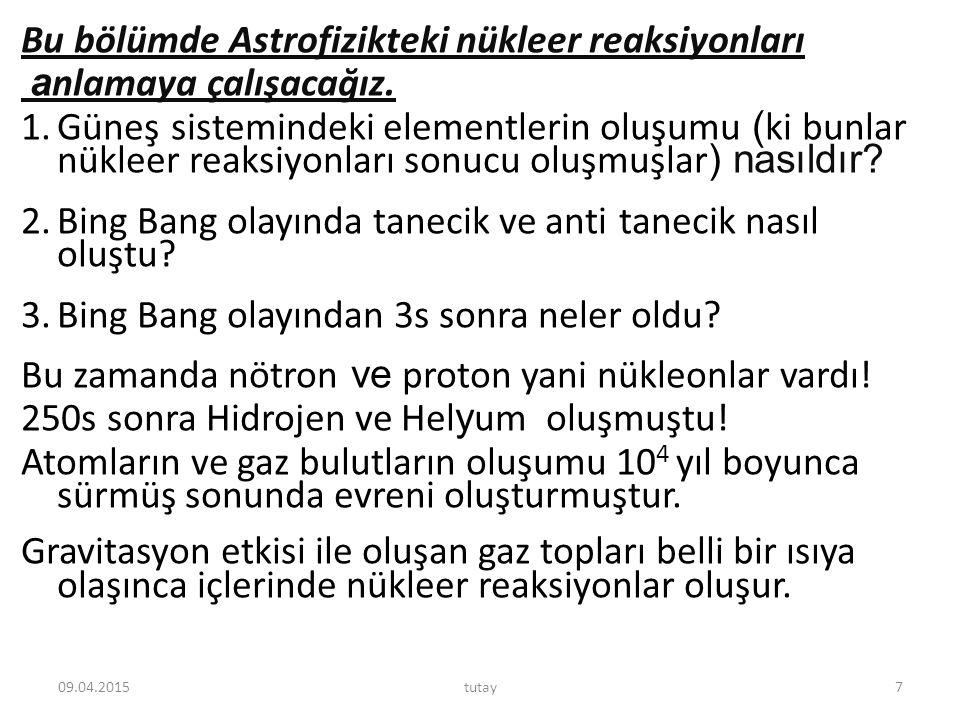 Bu bölümde Astrofizikteki nükleer reaksiyonları a nlamaya çalışacağız. 1.Güneş sistemindeki elementlerin oluşumu ( ki bunlar nükleer reaksiyonları son