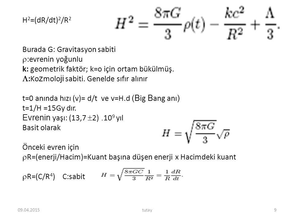 H 2 =(dR/dt) 2 /R 2 Burada G: Gravitasyon sabiti  :evrenin yoğunlu k: geometrik faktör; k=o için ortam bükülmüş.  :Ko z molo ji sabiti. Genelde sıfı