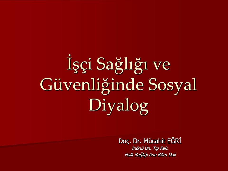 İşçi Sağlığı ve Güvenliğinde Sosyal Diyalog Doç. Dr. Mücahit EĞRİ İnönü Ün. Tıp Fak. Halk Sağlığı Ana Bilim Dalı