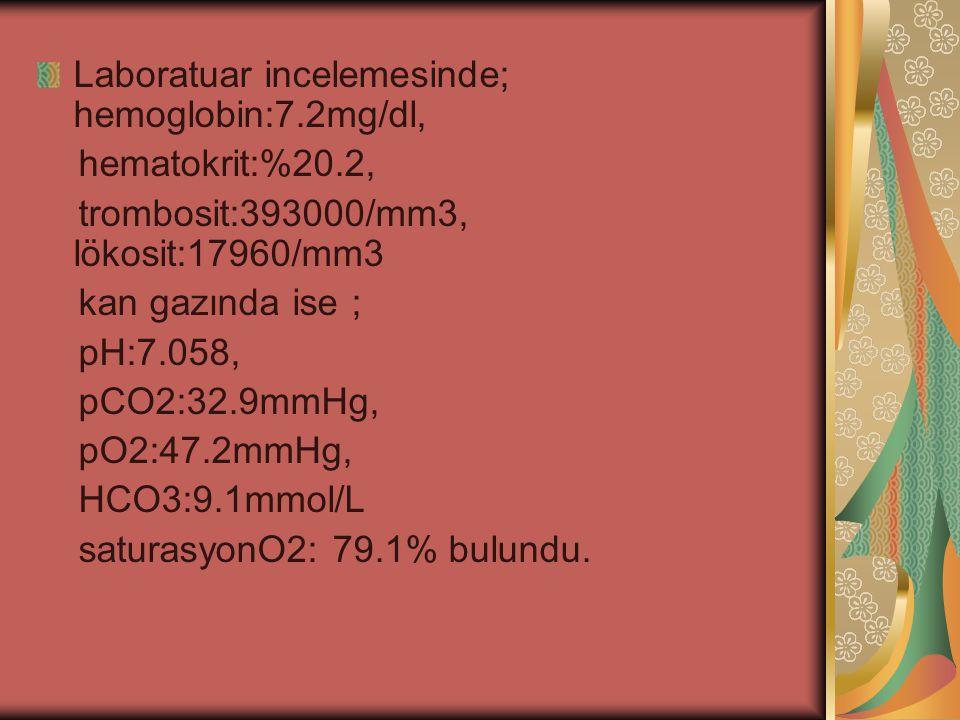 Laboratuar incelemesinde; hemoglobin:7.2mg/dl, hematokrit:%20.2, trombosit:393000/mm3, lökosit:17960/mm3 kan gazında ise ; pH:7.058, pCO2:32.9mmHg, pO