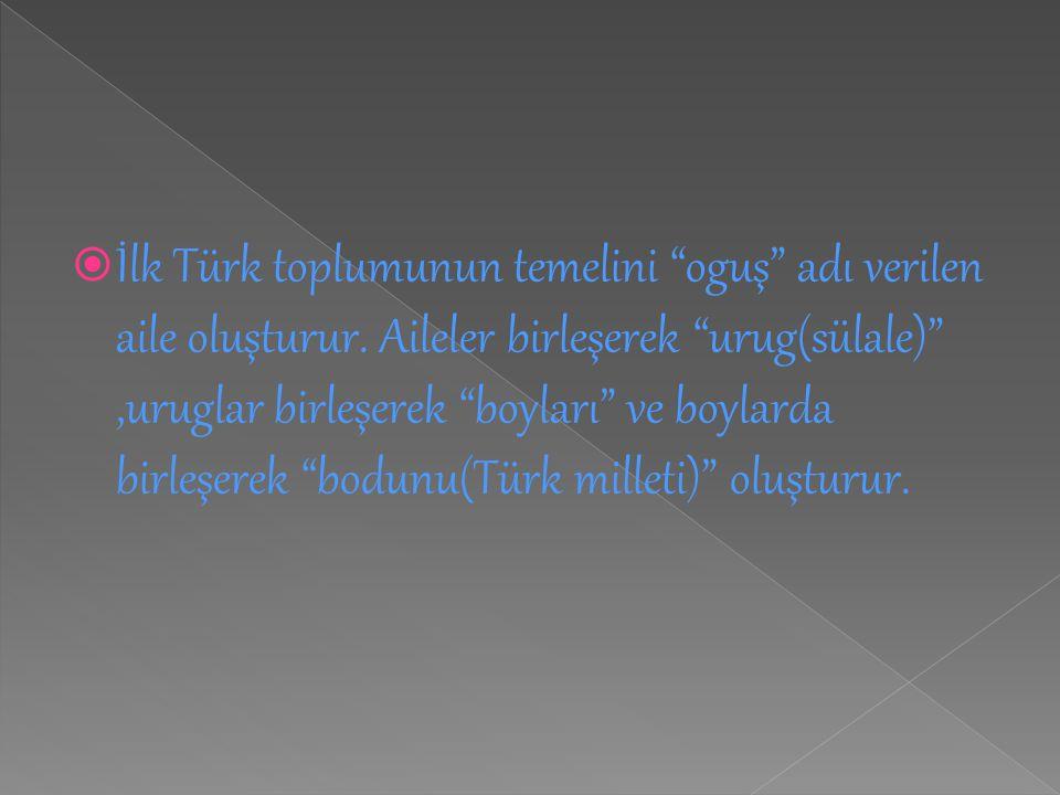 """ İlk Türk toplumunun temelini """"oguş"""" adı verilen aile oluşturur. Aileler birleşerek """"urug(sülale)"""",uruglar birleşerek """"boyları"""" ve boylarda birleşere"""