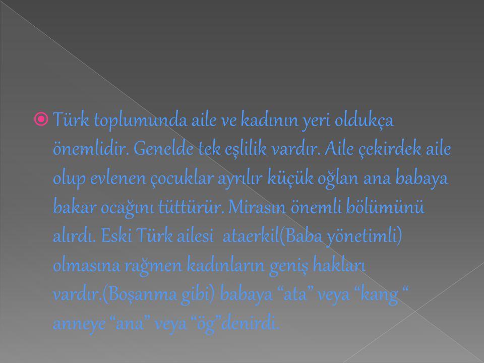  Türk toplumunda aile ve kadının yeri oldukça önemlidir. Genelde tek eşlilik vardır. Aile çekirdek aile olup evlenen çocuklar ayrılır küçük oğlan ana