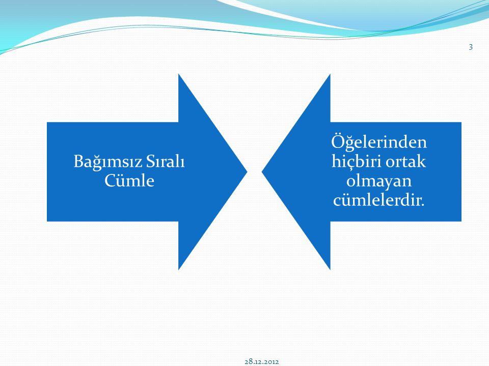 Bağımsız Sıralı Cümle Öğelerinden hiçbiri ortak olmayan cümlelerdir. 28.12.2012 3