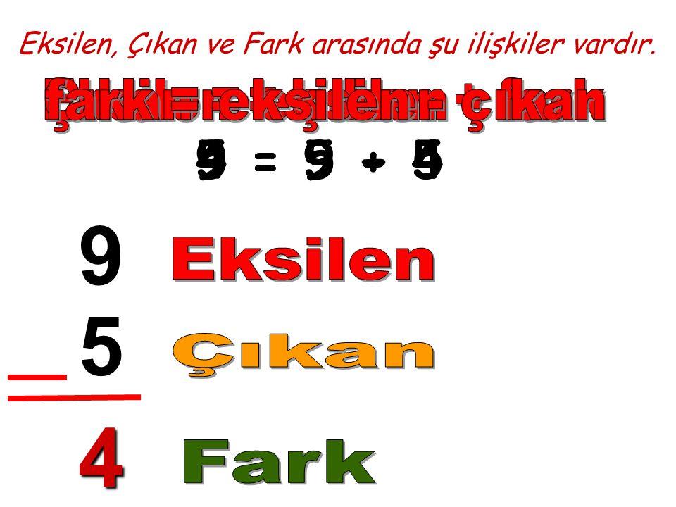 Eksilen, Çıkan ve Fark arasında şu ilişkiler vardır. 9 5 4 9 = 5 + 45 = 9 - 44 = 9 - 5