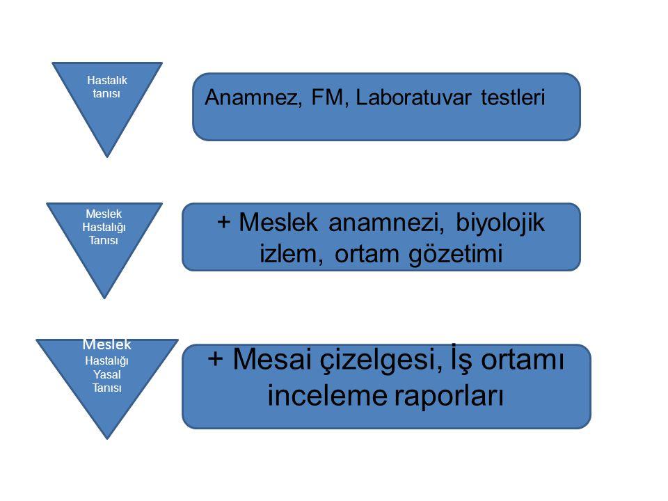 Hastalık tanısı Meslek Hastalığı Tanısı Meslek Hastalığı Yasal Tanısı Anamnez, FM, Laboratuvar testleri + Meslek anamnezi, biyolojik izlem, ortam göze
