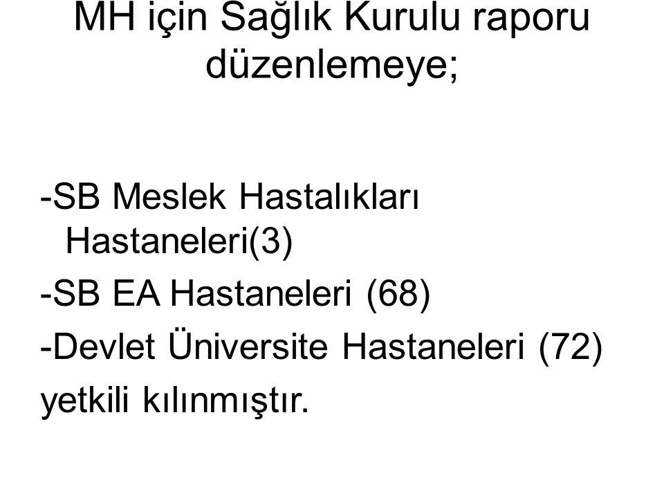 MH için Sağlık Kurulu raporu düzenlemeye; -SB Meslek Hastalıkları Hastaneleri(3) -SB EA Hastaneleri (68) -Devlet Üniversite Hastaneleri (72) yetkili k