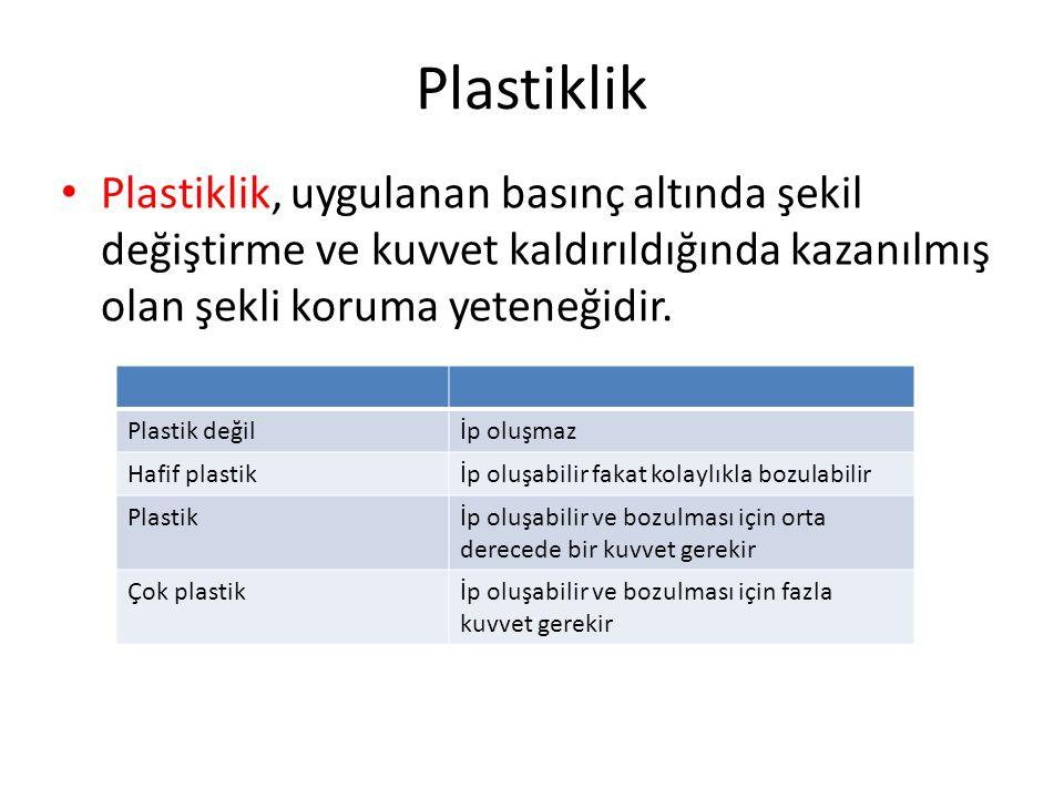Plastiklik Plastiklik, uygulanan basınç altında şekil değiştirme ve kuvvet kaldırıldığında kazanılmış olan şekli koruma yeteneğidir. Plastik değilİp o