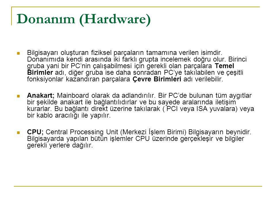 Donanım (Hardware) Ram; Random Access Memory(Rastgele Erişimli Bellek) Harddisklerden çok daha hızlı oldukları için çalıştırılan programlar Ram üzrinde işlem görürler.