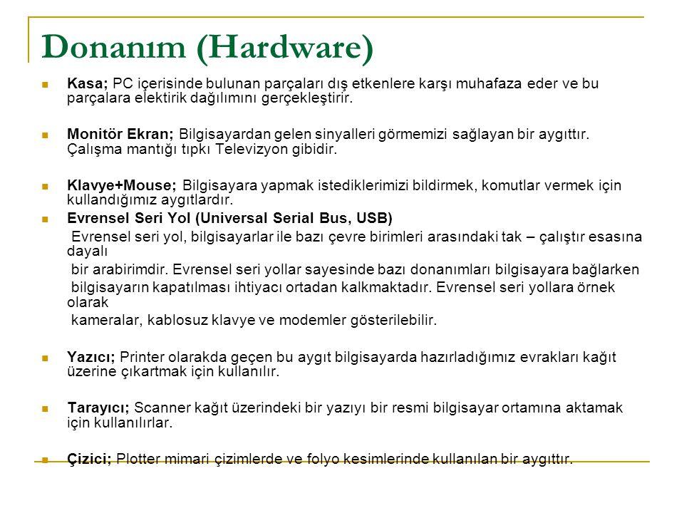 Donanım (Hardware) Kasa; PC içerisinde bulunan parçaları dış etkenlere karşı muhafaza eder ve bu parçalara elektirik dağılımını gerçekleştirir. Monitö