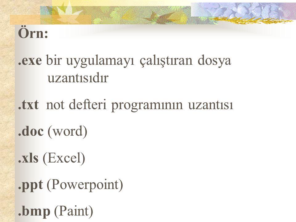 Örn:.exe bir uygulamayı çalıştıran dosya uzantısıdır.txt not defteri programının uzantısı.doc (word).xls (Excel).ppt (Powerpoint).bmp (Paint)