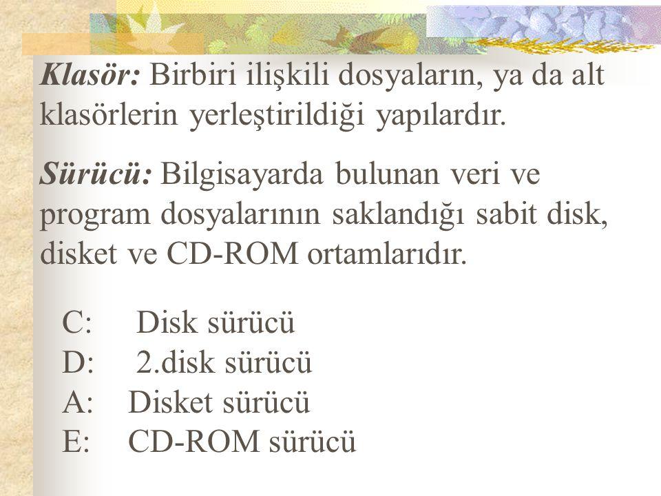 Sürücü: Bilgisayarda bulunan veri ve program dosyalarının saklandığı sabit disk, disket ve CD-ROM ortamlarıdır. C: Disk sürücü D: 2.disk sürücü A: Dis