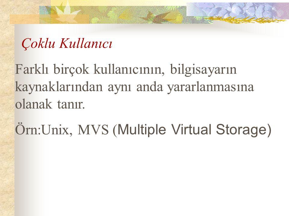 Farklı birçok kullanıcının, bilgisayarın kaynaklarından aynı anda yararlanmasına olanak tanır. Örn:Unix, MVS ( Multiple Virtual Storage) Çoklu Kullanı