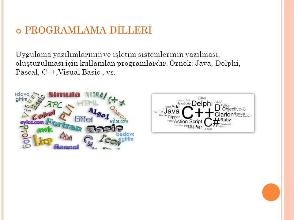 PROGRAMLAMA DİLLERİ Uygulama yazılımlarının ve işletim sistemlerinin yazılması, oluşturulması için kullanılan programlardır. Örnek: Java, Delphi, Pasc
