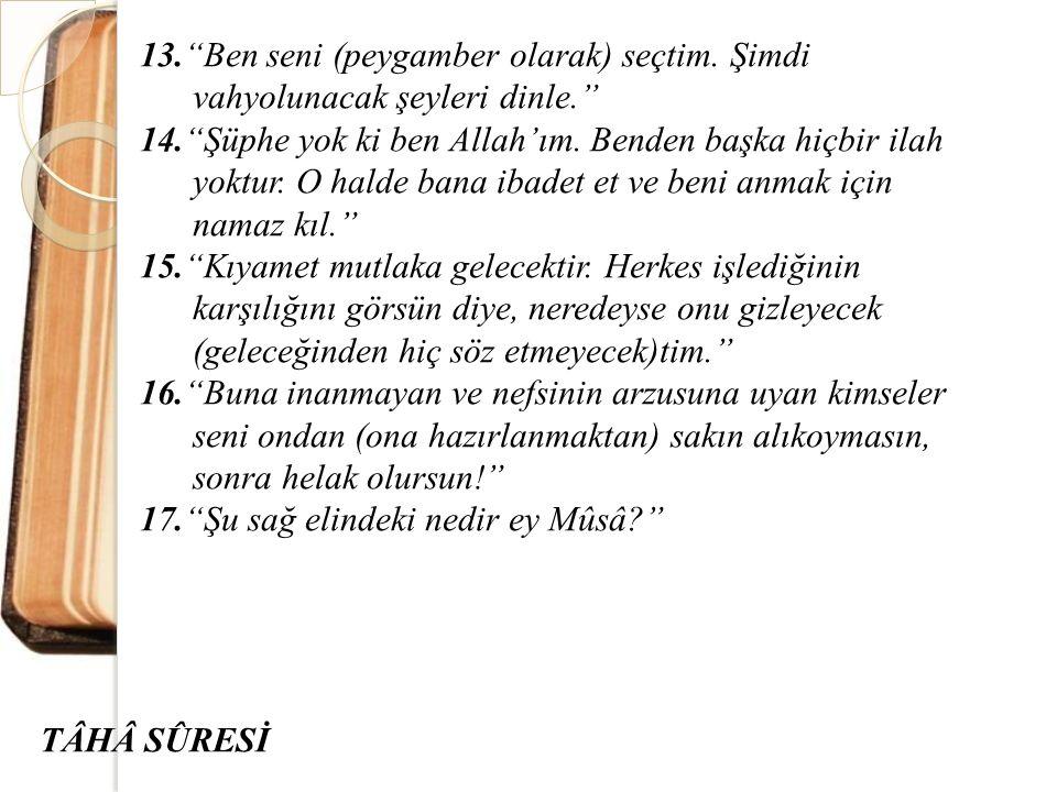 """13.""""Ben seni (peygamber olarak) seçtim. Şimdi vahyolunacak şeyleri dinle."""" 14.""""Şüphe yok ki ben Allah'ım. Benden başka hiçbir ilah yoktur. O halde ban"""