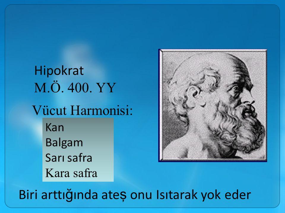 Hipokrat M.Ö. 400. YY Vücut Harmonisi: Kan Balgam Sarı safra Kara safra Biri arttı ğ ında ate ş onu Isıtarak yok eder