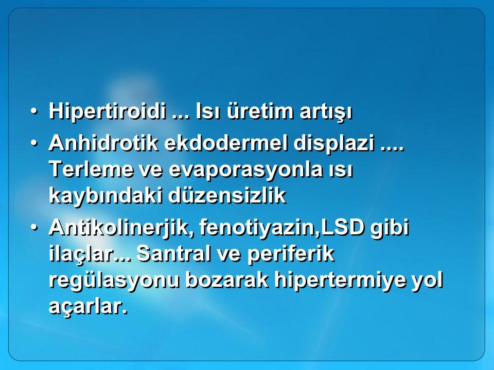 Hipertiroidi... Isı üretim artışı Anhidrotik ekdodermel displazi.... Terleme ve evaporasyonla ısı kaybındaki düzensizlik Antikolinerjik, fenotiyazin,L