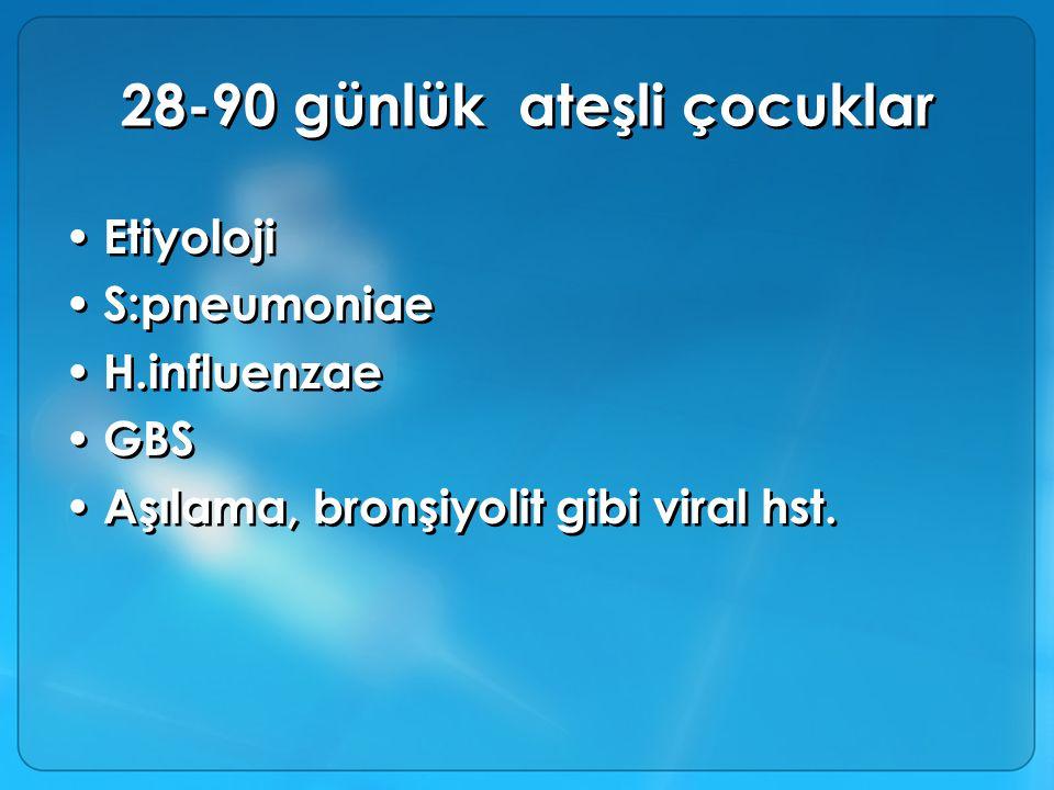 28-90 günlük ateşli çocuklar Etiyoloji S:pneumoniae H.influenzae GBS Aşılama, bronşiyolit gibi viral hst. Etiyoloji S:pneumoniae H.influenzae GBS Aşıl