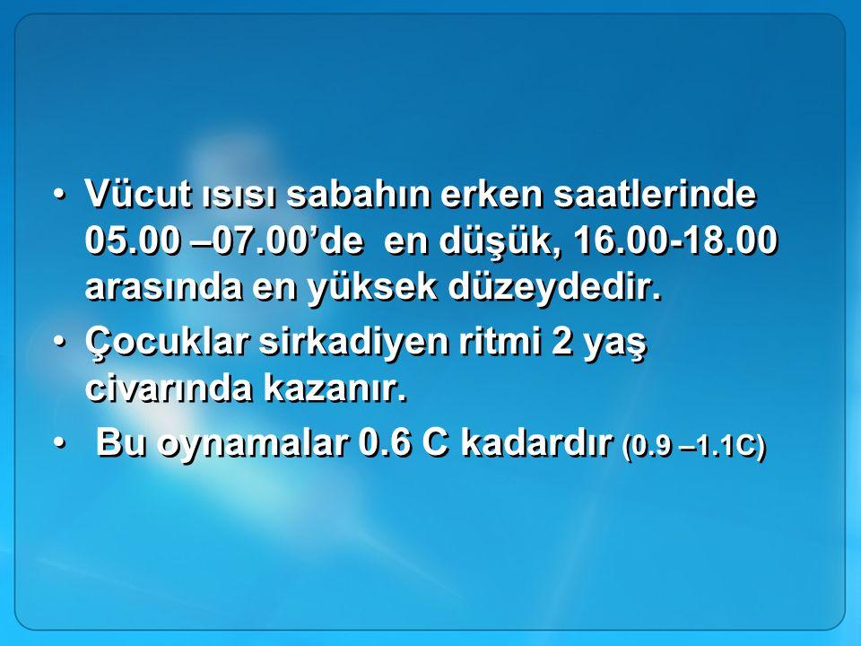 Vücut ısısı sabahın erken saatlerinde 05.00 –07.00'de en düşük, 16.00-18.00 arasında en yüksek düzeydedir. Çocuklar sirkadiyen ritmi 2 yaş civarında k