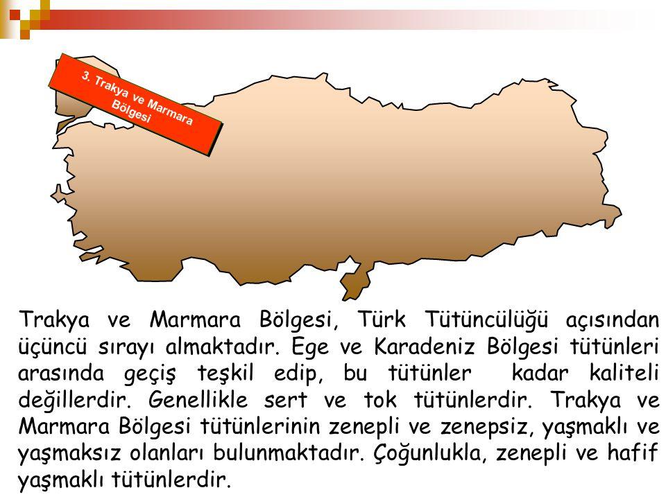 3. Trakya ve Marmara Bölgesi Trakya ve Marmara Bölgesi, Türk Tütüncülüğü açısından üçüncü sırayı almaktadır. Ege ve Karadeniz Bölgesi tütünleri arasın