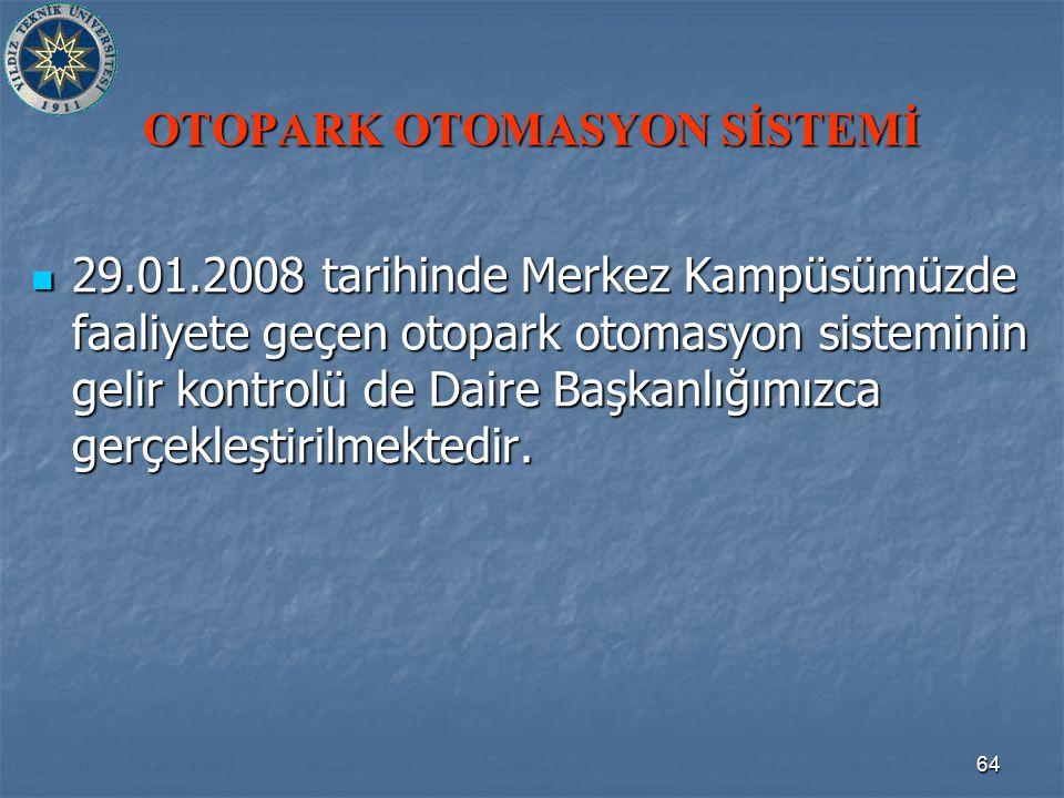 64 OTOPARK OTOMASYON SİSTEMİ 29.01.2008 tarihinde Merkez Kampüsümüzde faaliyete geçen otopark otomasyon sisteminin gelir kontrolü de Daire Başkanlığımızca gerçekleştirilmektedir.