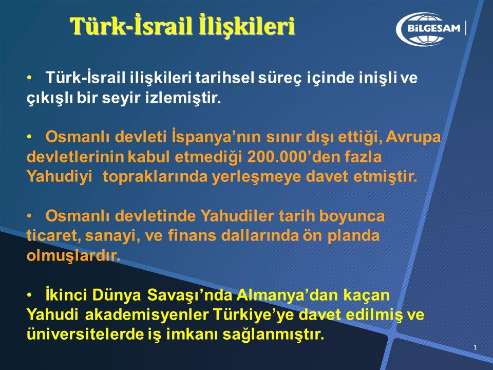 Türk-İsrail İlişkileri 1 Türk-İsrail ilişkileri tarihsel süreç içinde inişli ve çıkışlı bir seyir izlemiştir.