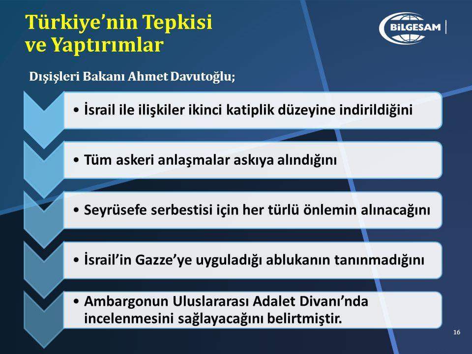 Türkiye'nin Tepkisi ve Yaptırımlar İsrail ile ilişkiler ikinci katiplik düzeyine indirildiğini Tüm askeri anlaşmalar askıya alındığını Seyrüsefe serbestisi için her türlü önlemin alınacağınıİsrail'in Gazze'ye uyguladığı ablukanın tanınmadığını Ambargonun Uluslararası Adalet Divanı'nda incelenmesini sağlayacağını belirtmiştir.