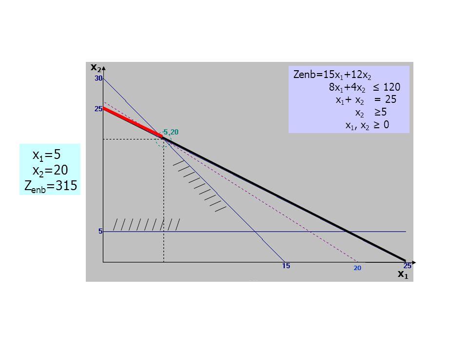 Zenb=15x 1 +12x 2 8x 1 +4x 2 ≤ 120 x 1 + x 2 = 25 x 2 ≥5 x 1, x 2 ≥ 0 x 1 =5 x 2 =20 Z enb =315 20 x1x1 x2x2