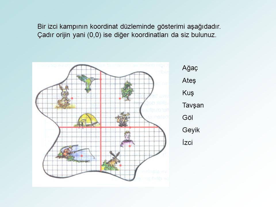 Bir izci kampının koordinat düzleminde gösterimi aşağıdadır. Çadır orijin yani (0,0) ise diğer koordinatları da siz bulunuz. Ağaç Ateş Kuş Tavşan Göl