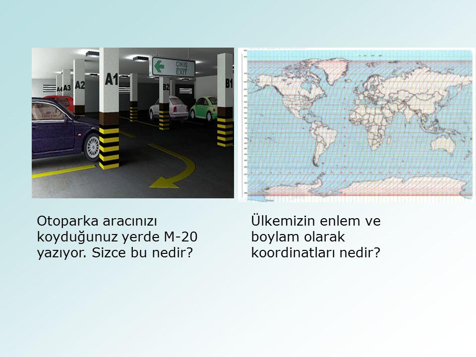 Otoparka aracınızı koyduğunuz yerde M-20 yazıyor. Sizce bu nedir? Ülkemizin enlem ve boylam olarak koordinatları nedir?