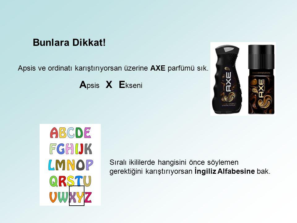 Bunlara Dikkat! Apsis ve ordinatı karıştırıyorsan üzerine AXE parfümü sık. A psis X E kseni Sıralı ikililerde hangisini önce söylemen gerektiğini karı