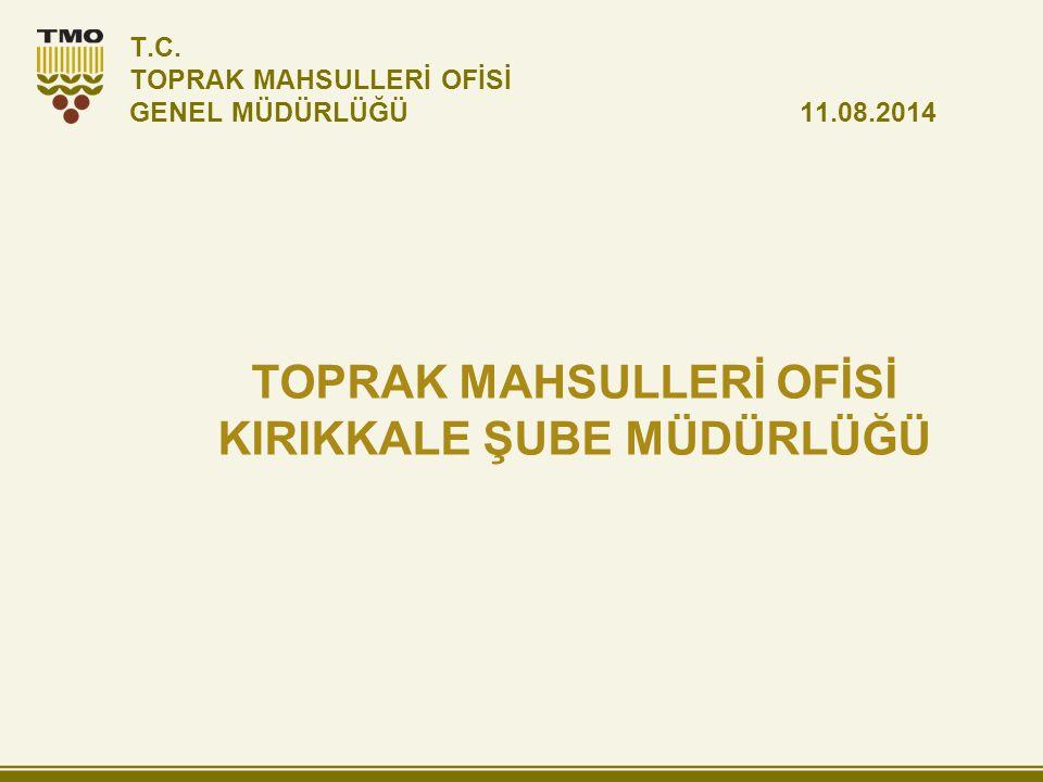 T.C. TOPRAK MAHSULLERİ OFİSİ GENEL MÜDÜRLÜĞÜ 11.08.2014 TOPRAK MAHSULLERİ OFİSİ KIRIKKALE ŞUBE MÜDÜRLÜĞÜ