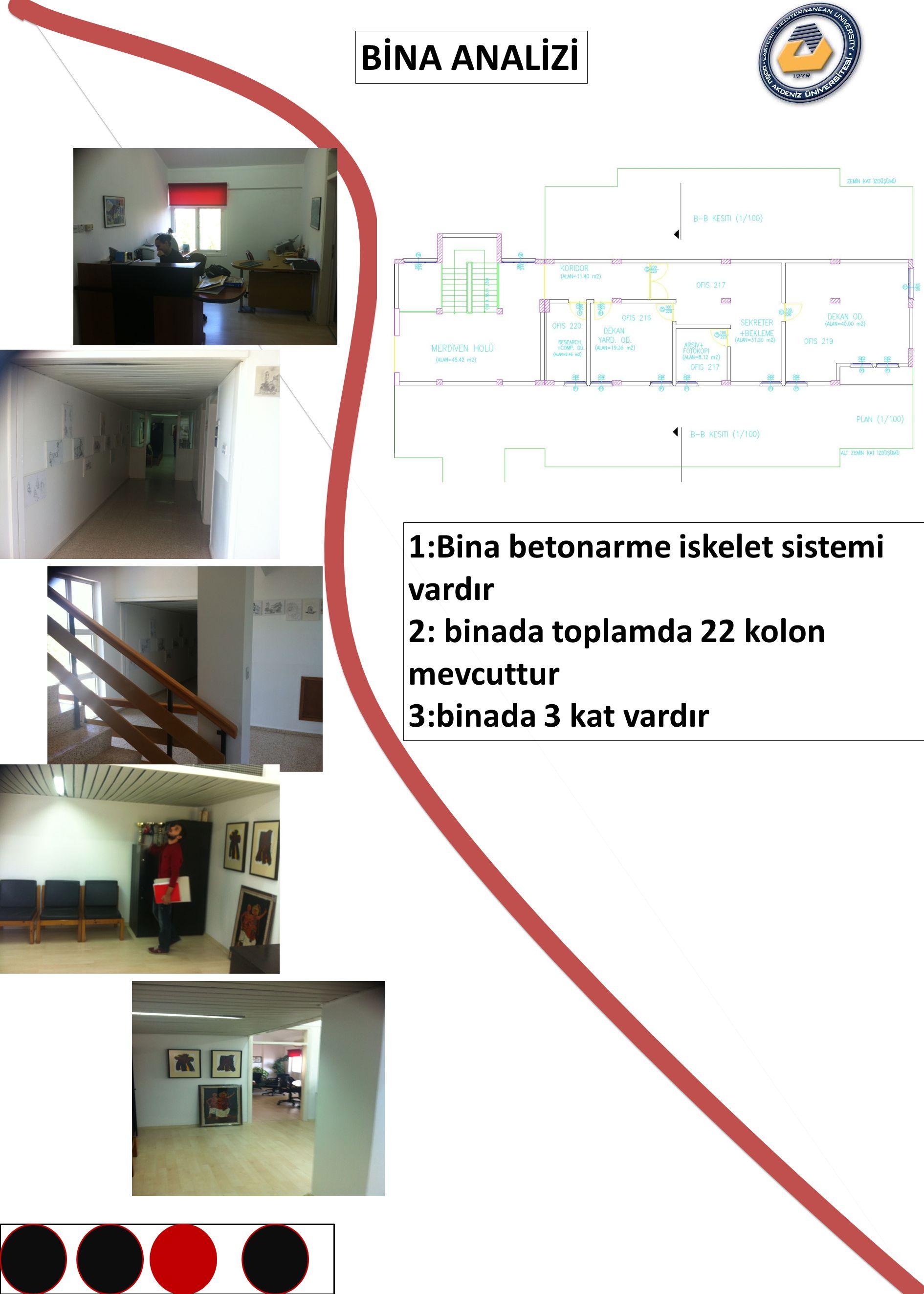 BİNA ANALİZİ 1:Bina betonarme iskelet sistemi vardır 2: binada toplamda 22 kolon mevcuttur 3:binada 3 kat vardır