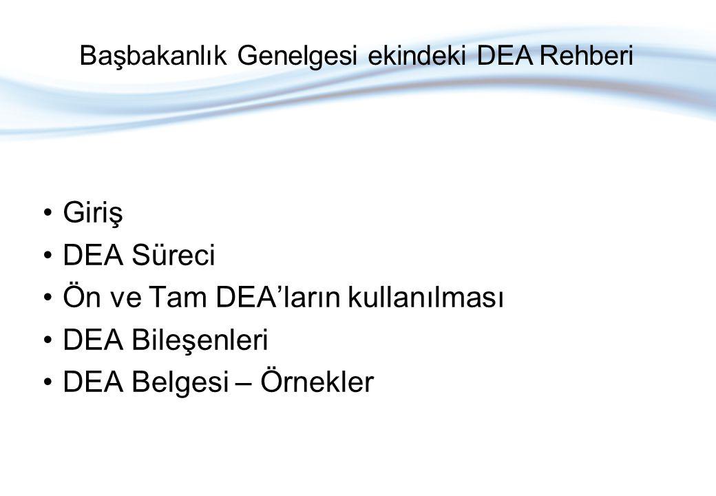 Giriş DEA Süreci Ön ve Tam DEA'ların kullanılması DEA Bileşenleri DEA Belgesi – Örnekler Başbakanlık Genelgesi ekindeki DEA Rehberi