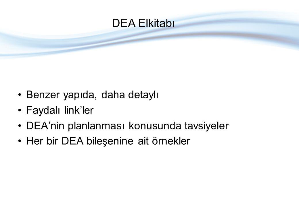 Benzer yapıda, daha detaylı Faydalı link'ler DEA'nin planlanması konusunda tavsiyeler Her bir DEA bileşenine ait örnekler DEA Elkitabı