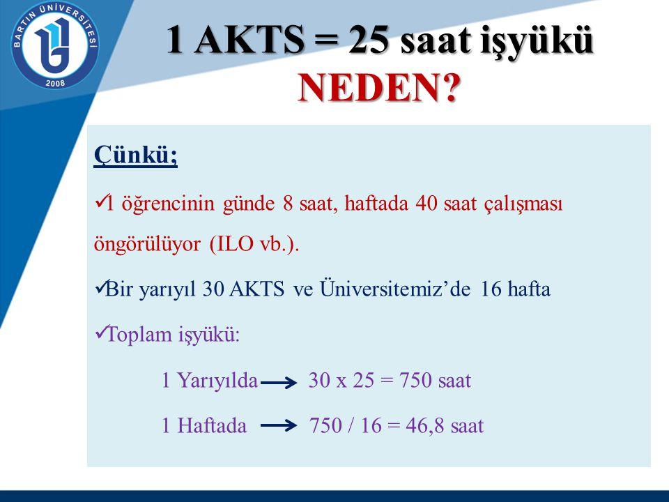 1 AKTS = 25 saat işyükü NEDEN? Çünkü; 1 öğrencinin günde 8 saat, haftada 40 saat çalışması öngörülüyor (ILO vb.). Bir yarıyıl 30 AKTS ve Üniversitemiz