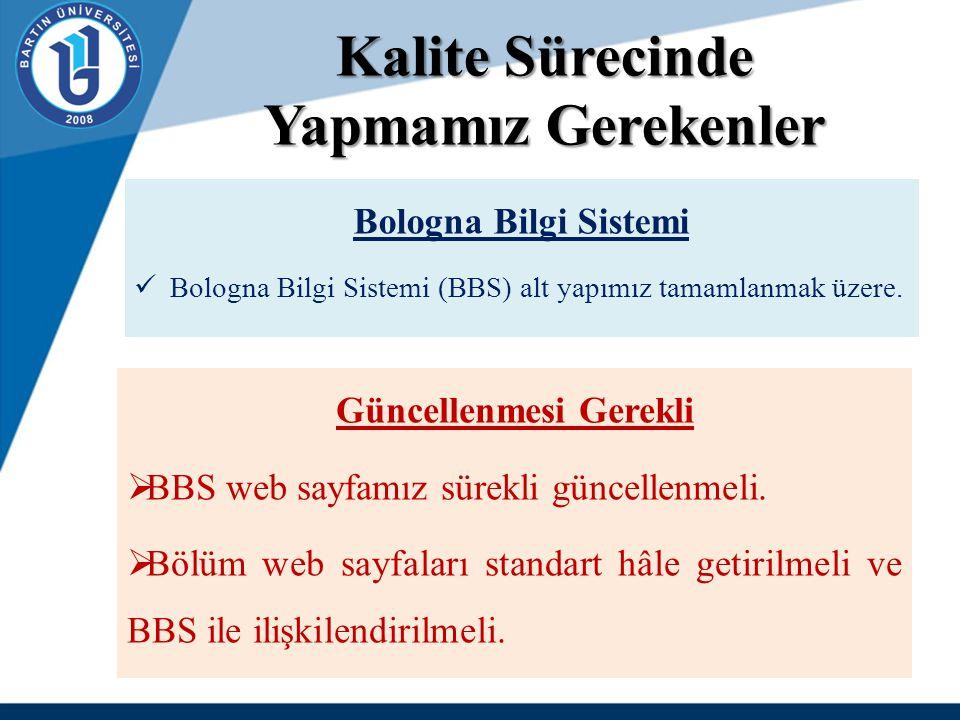Kalite Sürecinde Yapmamız Gerekenler Bologna Bilgi Sistemi Bologna Bilgi Sistemi (BBS) alt yapımız tamamlanmak üzere. Güncellenmesi Gerekli  BBS web