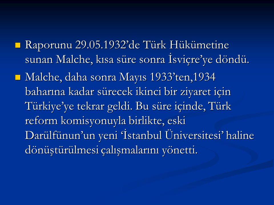 Raporunu 29.05.1932'de Türk Hükümetine sunan Malche, kısa süre sonra İsviçre'ye döndü. Raporunu 29.05.1932'de Türk Hükümetine sunan Malche, kısa süre