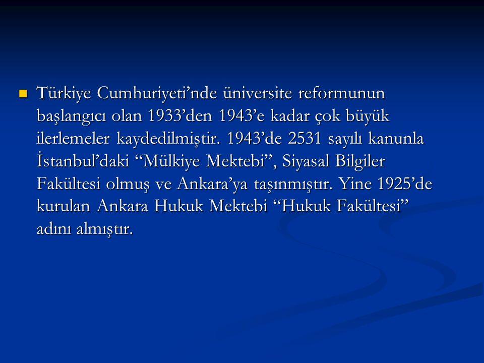 Türkiye Cumhuriyeti'nde üniversite reformunun başlangıcı olan 1933'den 1943'e kadar çok büyük ilerlemeler kaydedilmiştir. 1943'de 2531 sayılı kanunla